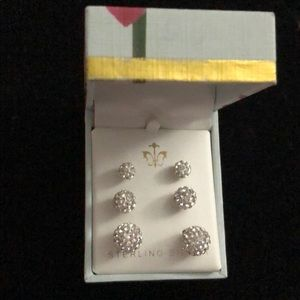 Set of 3 pairs of Sterling Silver Pave Earrings